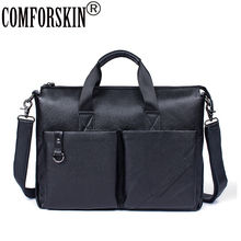 COMFORSKIN Bolsa Masculina New Arrivals Luxurious 100% Genuine Leather Business Men Briefcase 2018 Hot Fashion Mens Handbags
