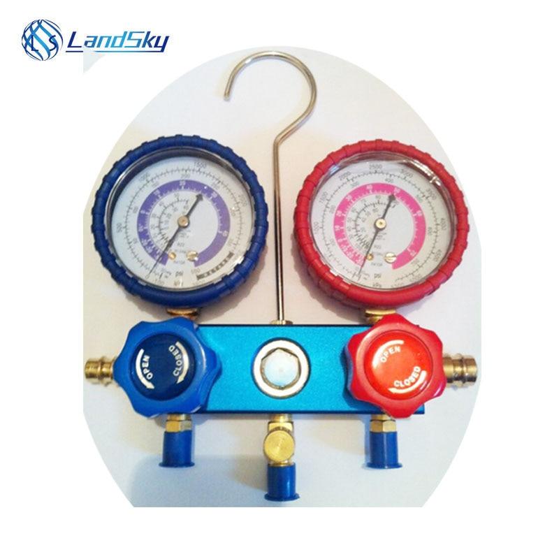 R410 high grade aluminum double watch valve plus fluoride table refrigeration pre Manifold Gauge Set A/C Air 1/4SAE