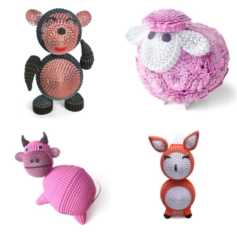 3D modèle singe mouton bétail renard papier Quilling Papermaker éducatif Intelligent jouet belle maison affichage décoration enfants