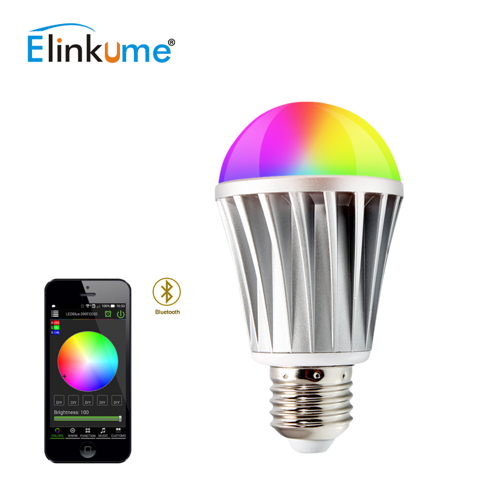 Elinkume Dimmable Bluetooth RGB LED ampoule sans fil contrôle E27 SMD5630 7 W AC85-240V Intelligent ampoule intelligente