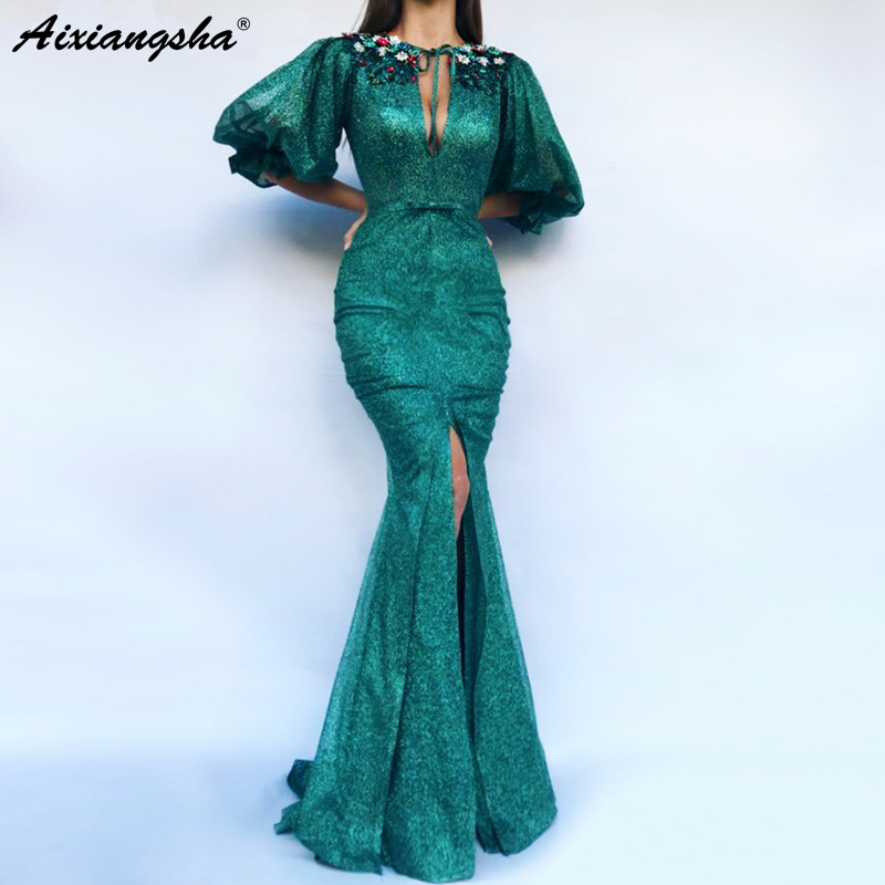Green Muslim Prom   Evening     Dress   2019 Half Sleeves Sequins Slit Islamic Dubai Saudi Arabic Mermaid Long Formal   Evening   Gown