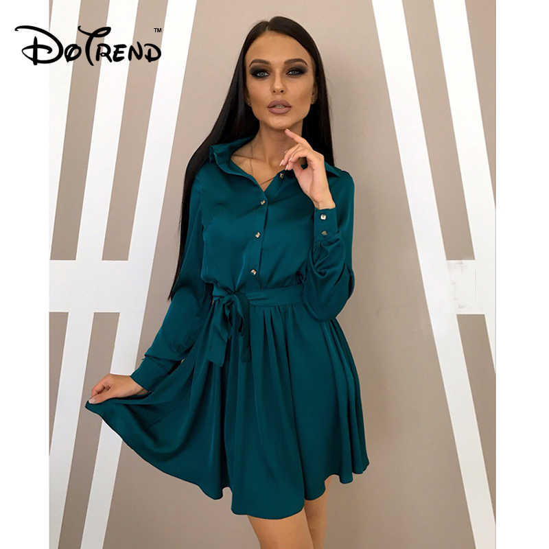 Women Vintage Sashes A Line Party Dress Ladies Long Sleeve Turn-Down Collar Button Design Dress 2019 New Fashion Women Dress