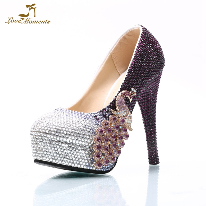 Plus Size Lady Party Prom Shoes Purple and Silver Mix Color Rhinestone Wedding  High Heels Bride Formal Dress Shoes Custom Made 6387fb1a8513