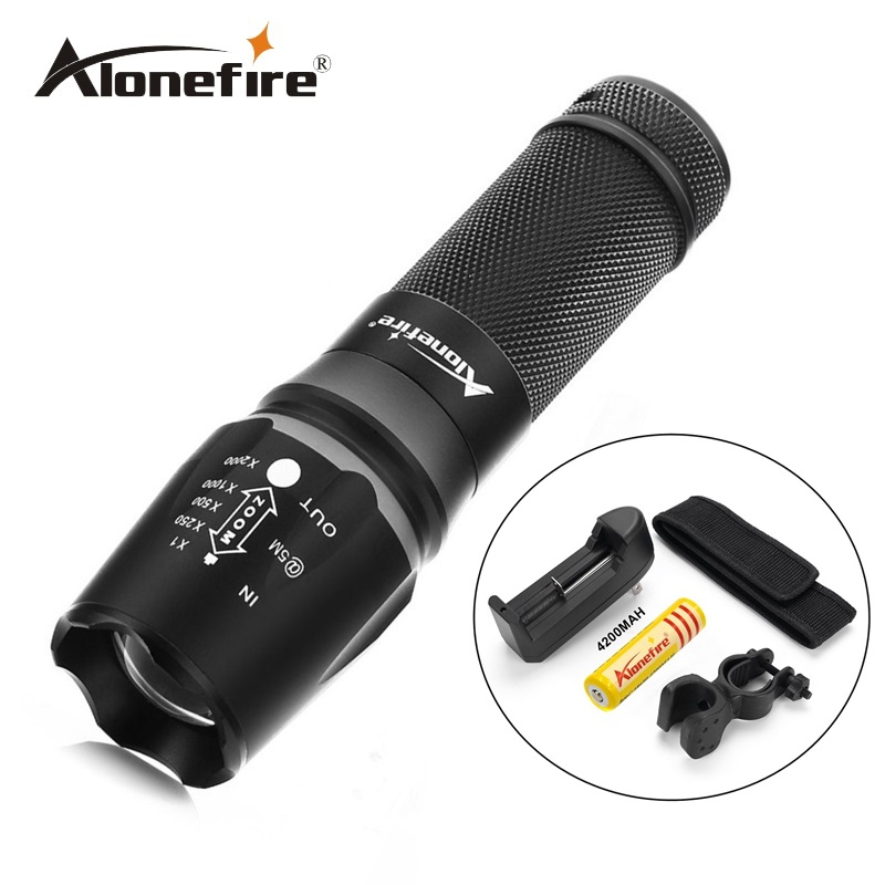 Alonefire X800 4000LM Tactical CREE XML T6 LED flashlight Torch Zoomable light Camping Hiking+battery+charger+Holster+mounts led cree xml t6 flashlight 6000lumens torch 5modes tactical flashlight zoomable flash light 18650 battery charger