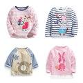Novo 2017 Da Marca de 100% de Algodão Do Bebê Meninas t camisas Dos Miúdos Roupas Roupas para Crianças de Manga Comprida t-shirt Das Meninas Blusa Undershirts camisas Meninas