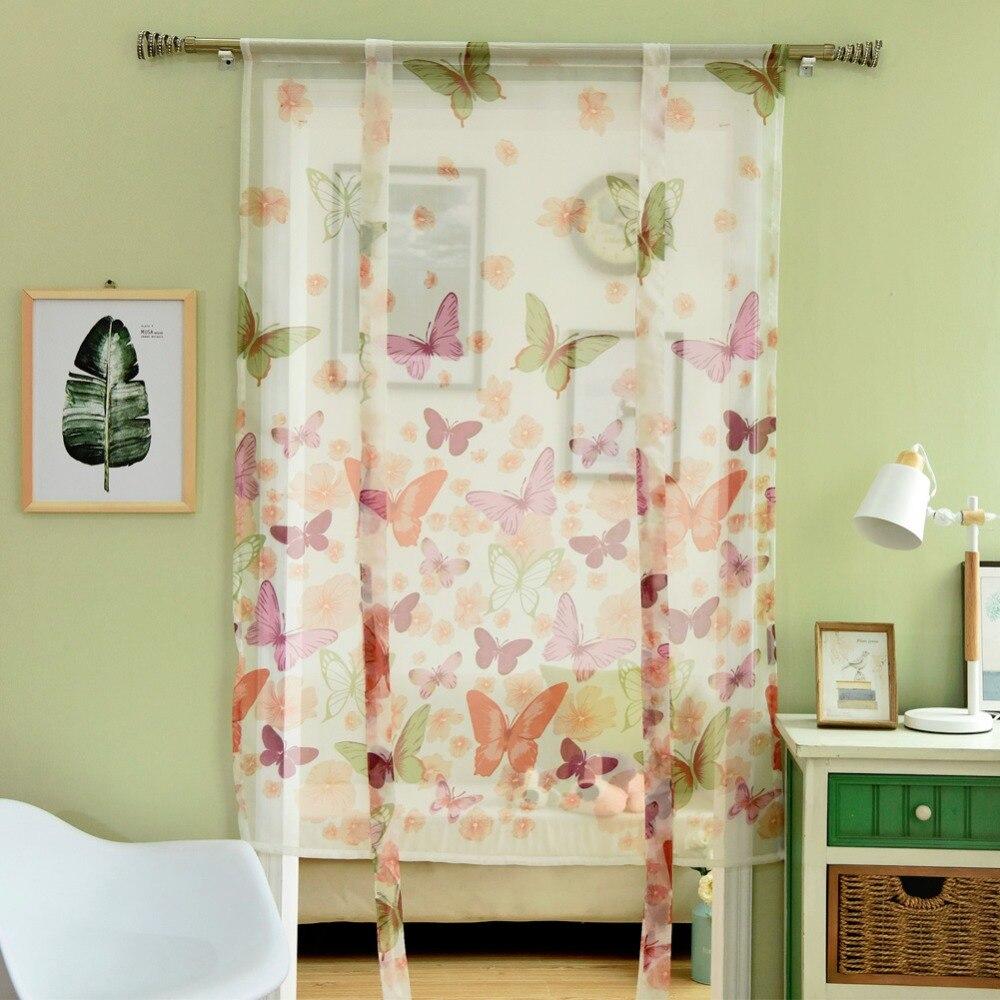 Butterfly Window Tulle Window Voile Curtain Door Short Curtains Modern  Panel Curtains Roman Curtains Kitchen(