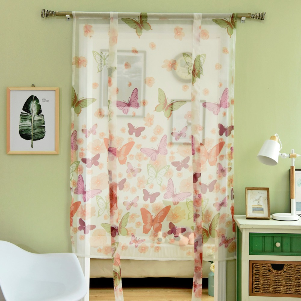 Kitchen Curtains Short Roman Curtains Butterfly Sheer Panel Door Curtains  Window Treatments Voile Tulle Curtain Window Modern  In Curtains From Home  ...