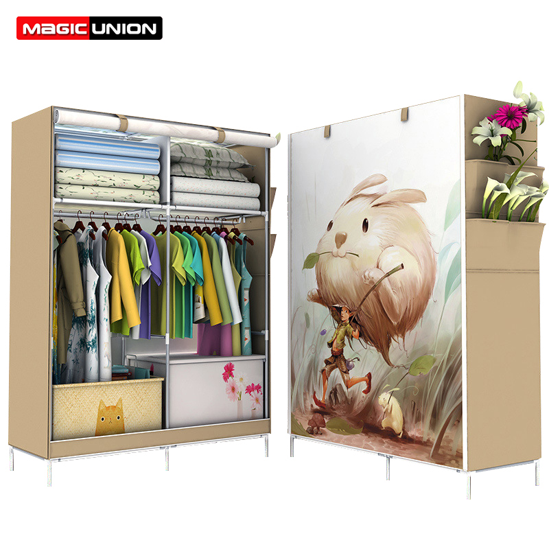 Magic Union 3D Large Wardrobe Non woven Folding Cloth Wardrobe Reinforcement Combination Home Cabinet Panoramic Wardrobe