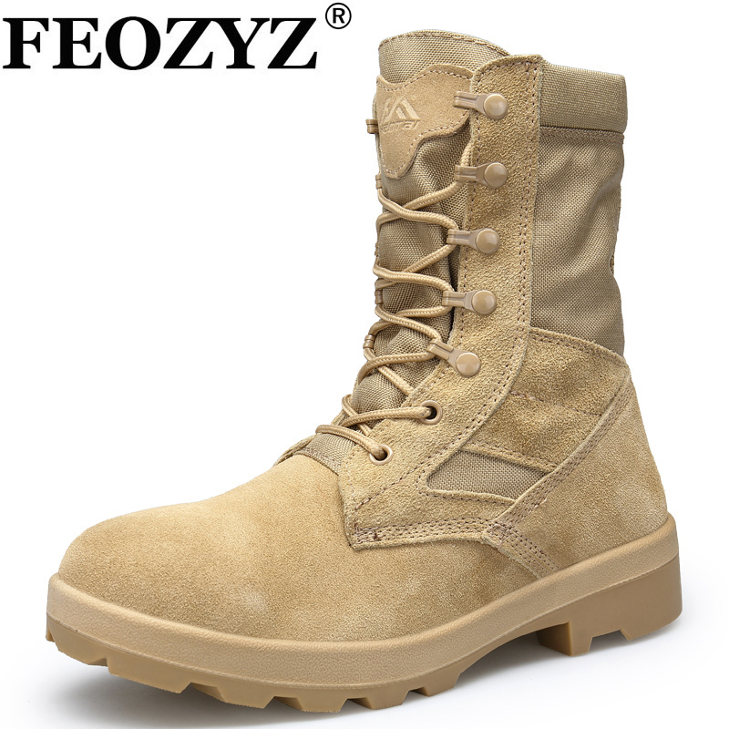 где купить FEOZYZ Tactical Boots Military High Top Hiking Shoes Men Waterproof Shoes Leather Outdoor Sneakers Sand / Black по лучшей цене