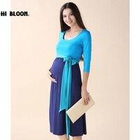 HI BLOOM Maternity Clothes Maternity Dress Elegant Evening Party Dresses For Pregnancy Blue Skirt Office Lady Vestidos