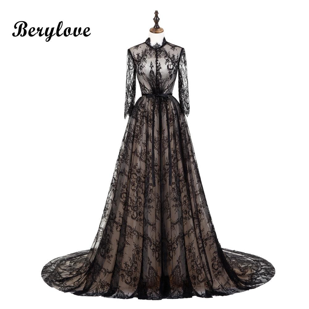 BeryLove винтажное черное кружевное платье для матери невесты 2019 с длинным рукавом с высоким воротом кружевное платье для матери невесты свадь