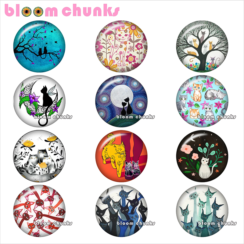 love cat Round photo glass cabochon cat demo flat back Making findings 12mm/18mm/20mm/25mm TL1023