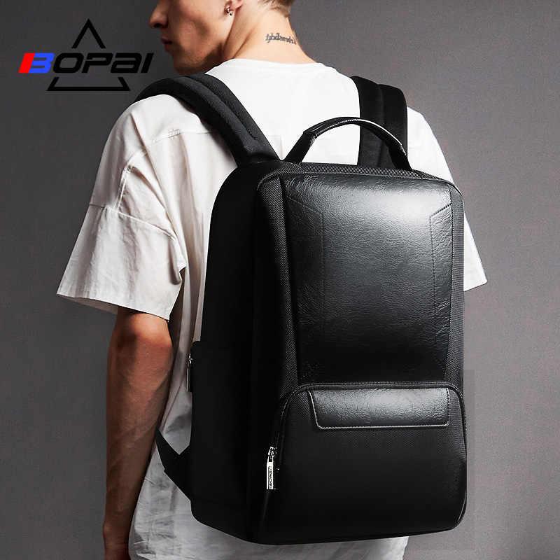 Mochila de cuero de nailon BOPAI mochila negra para hombres de negocios bolsa de viaje 15,6 pulgadas mochila para ordenador portátil mochilas escolares para adolescentes