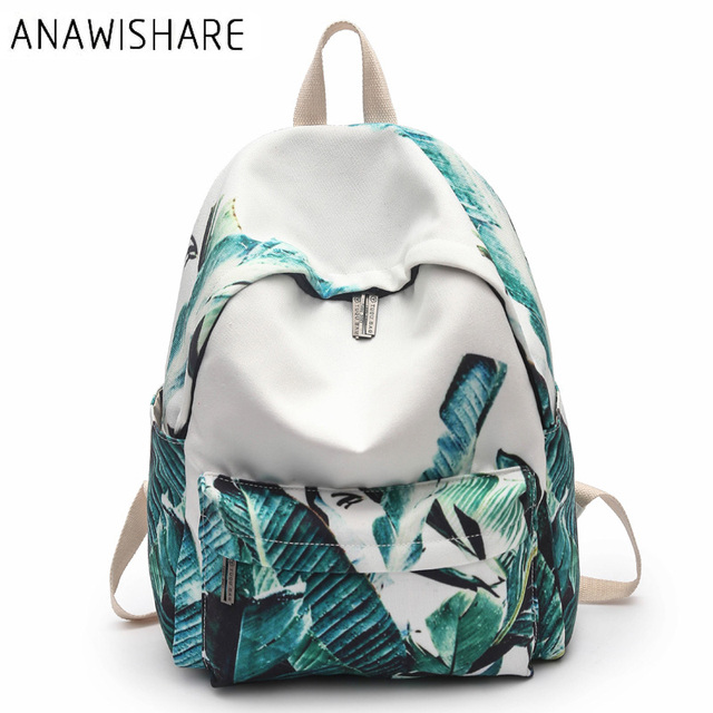 663038cab5 ANAWISHARE Women Canvas Backpacks Printing Rucksack School Bags For  Teenagers Girls Bookbags Travel Bags Mochila Escolar