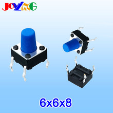 купить JOYING LIANG Blue 6*6*8MM Vertical Four-legged Touch Switch 4-legged Micro Key Push Button Switch 6x6x8mm Copper Foot по цене 58.08 рублей