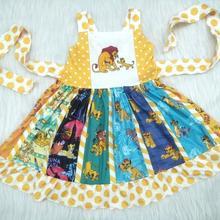 Wholesale/retail lion pattern dress baby girls sleeveless ca