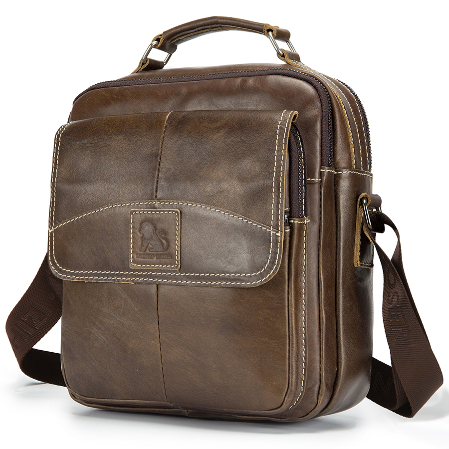 Brand Genuine Leather Men Shoulder Bag Vintage Crossbody Bag For Men Cowhide Messenger Bag Male Business Handbag Top-handle Tote