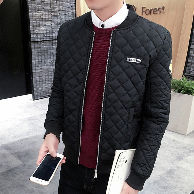 2017 NEW Mens Autumn and winter Jackets And Coats Business Leisure Slim Fit Stand Collar Cotton Clothing Plus Size Quilted M-3XL