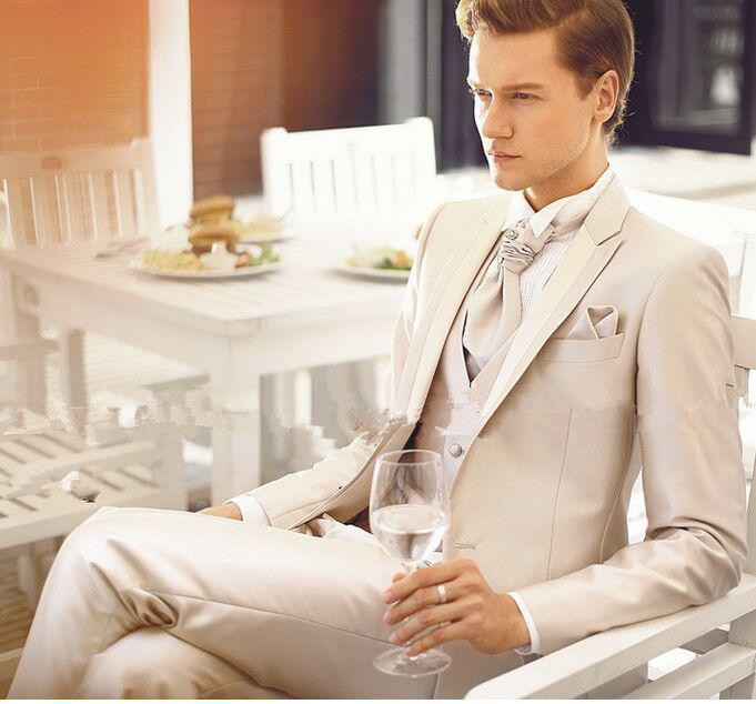 2016 New Custom Made Handmade Beige Mens Slim Fit Suits Wedding Suits Groom Suits Bridal Tuxedos Formal Occasion Party Suits