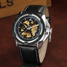 цена Mechanical Watches Men Leather Automatic Self-Wind Mechanical Skeleton Watch Men Casual Sports Watches Relogio Masculino GOER онлайн в 2017 году
