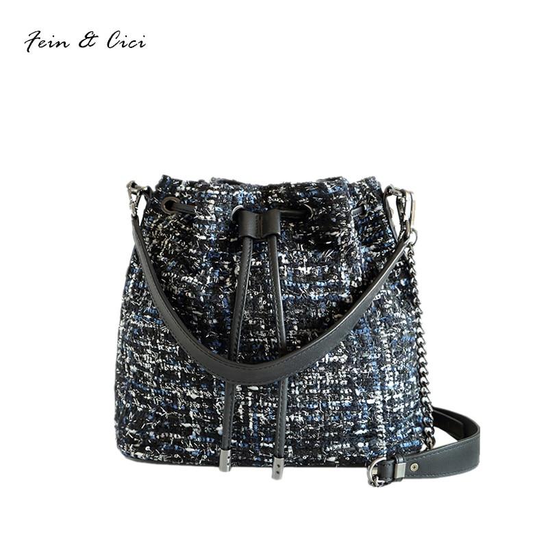 old tweed мокасины tweed bucket bag women chains rivets bag geuine leather shoulder bag crossbody bags autumn winter 2017 new fashion