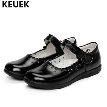 New Style School Dress Shoes Children Black Genuine Leather