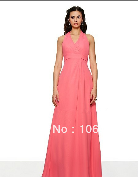 free shipping 2014 Poly chiffon floor length A-line V-neck keyhole back w/cascade empire waist couture chiffon   Bridesmaid     Dress