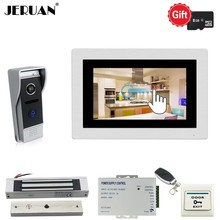 JERUAN 720P AHD Motion Detection 7 INCH TOUCH SCREEN Video Doorbell Unlock Intercom System kit Record