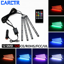 цена на CARCTR 4Pcs 7 Colors Car RGB LED Strip Light LED Lights Strip Car Decorative Atmosphere Lamps Car Interior Light Remote 12V 10W