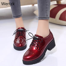 Thick Bottom Women Flat Platform Shoes Fashion Design Round Toe Lace-up Women Casual Shoes British Style Women Brogue Shoes A212(China)