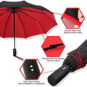 Image 3 - Paraguas plegable automático resistente al viento, paraguas grande de 10K de fibra de vidrio para lluvia, paraguas de negocios para hombres y mujeres