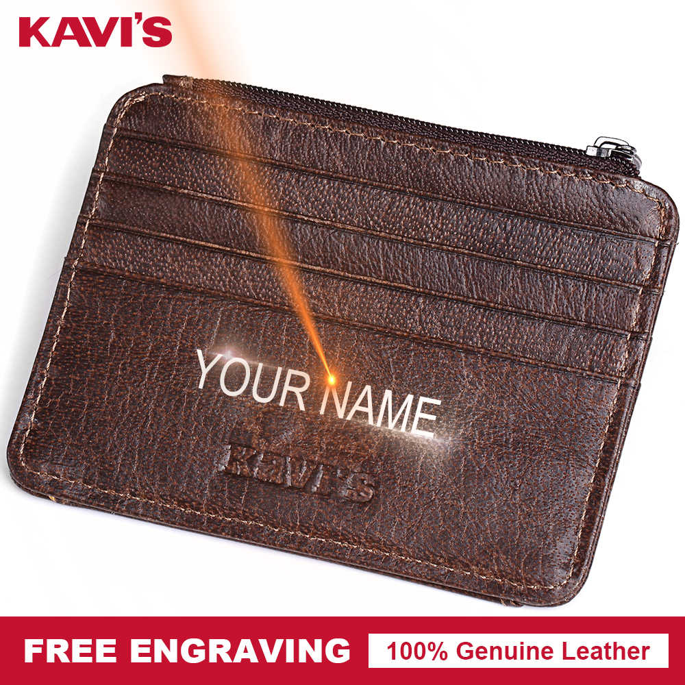 KAVIS Free Engraving Small Genuine Leather Zipper Card Holder Hasp Gift Men Women ID Card Wallets Case Coin Purse Slim Thin Mini