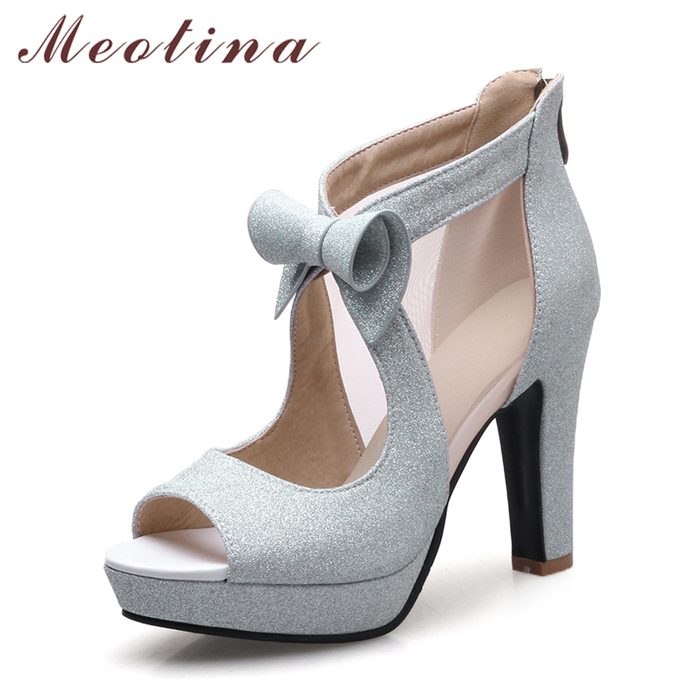 цена на Meotina Women Shoes High Heels Platform Shoes Bow Peep Toe Pumps Sexy High Heel Party Shoes Silver Size 33-43 sapatos femininos