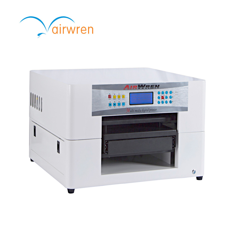 A3 Size Digital Flatbed T-shirt Printing Machine with full-closed CISS for textile by Black and White inkA3 Size Digital Flatbed T-shirt Printing Machine with full-closed CISS for textile by Black and White ink