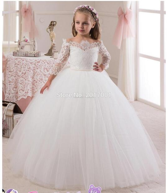 Girls Formal Dresses 2017 LongSleeve Flower Girls Princess Dresses Kids Lace Long Prom Party Ball Gown Children's Wedding Dress longsleeve gwinner longsleeve