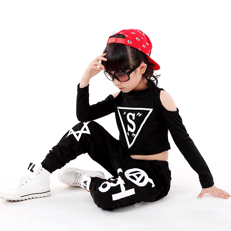 Vaikų hiphopo haremo kelnės Merginos džiazo šokių drabužiai Popping šokių kostiumų komplektas Individualizuotos viršutinės ir kelnės spektaklio drabužiai