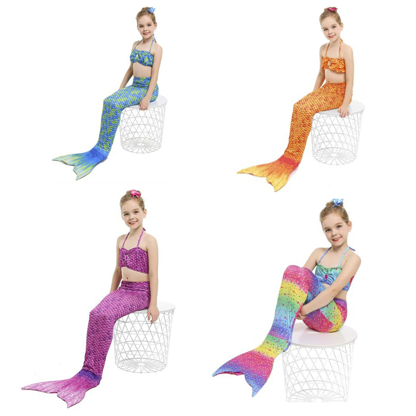 Ariel Party Cosplay Vestido Girls The Little Mermaid Swimming Suit Princess Ariel Swim Tail 10colors Kids Swimmable Clothes