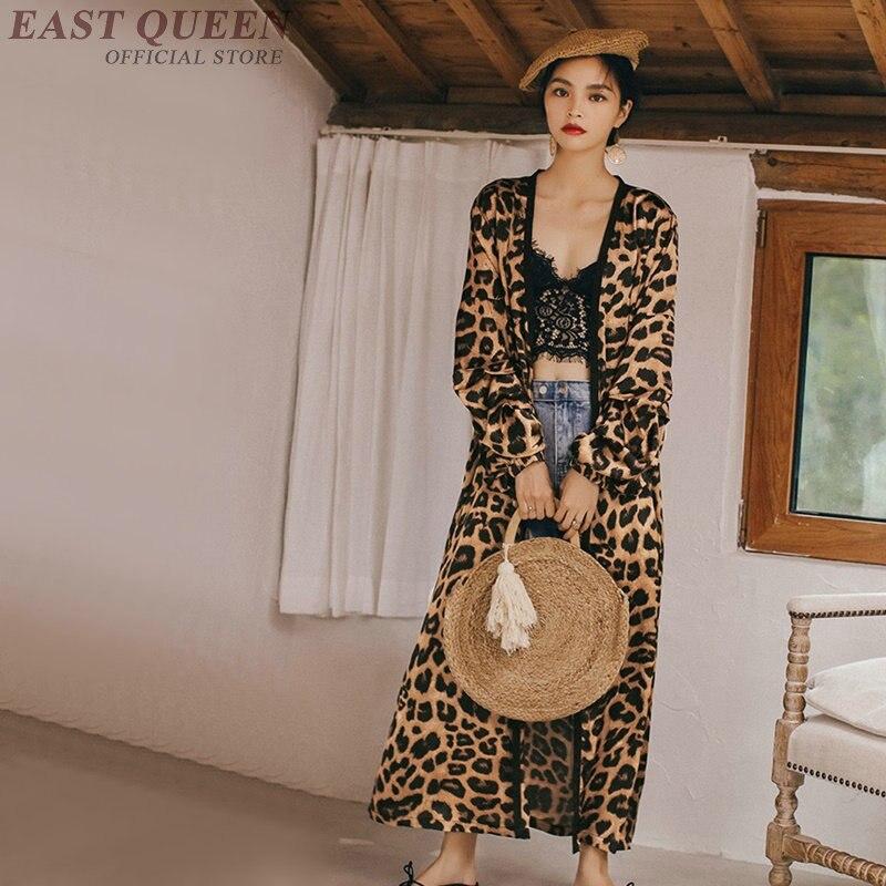 Imprimé léopard longue chemise femme tunique femmes hauts et chemisiers vacances bohème chic kimono cardigan haut pour femme été 2019 AA4833
