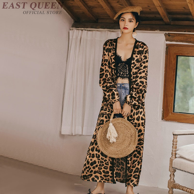 leopard print long shirt female tunic womens tops and blouses holiday boho chic kimono cardigan women tops summer 2019 AA4833