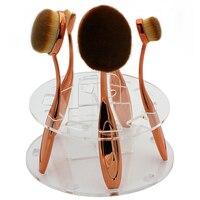 Top Qualidade 10 furos Acrílico Maquiagem escova secagem Estande titular Portátil suporte de prateleira de exposição requintado pincel seco Escova Oval