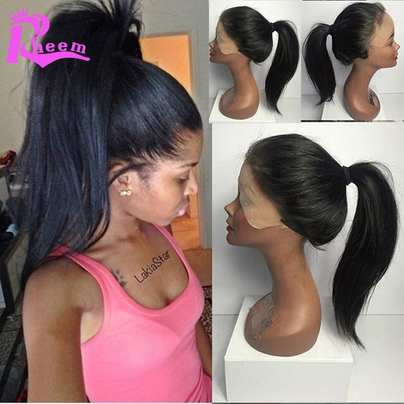 High Ponytail Brazilian Full Lace Human Hair Wigs For -4504