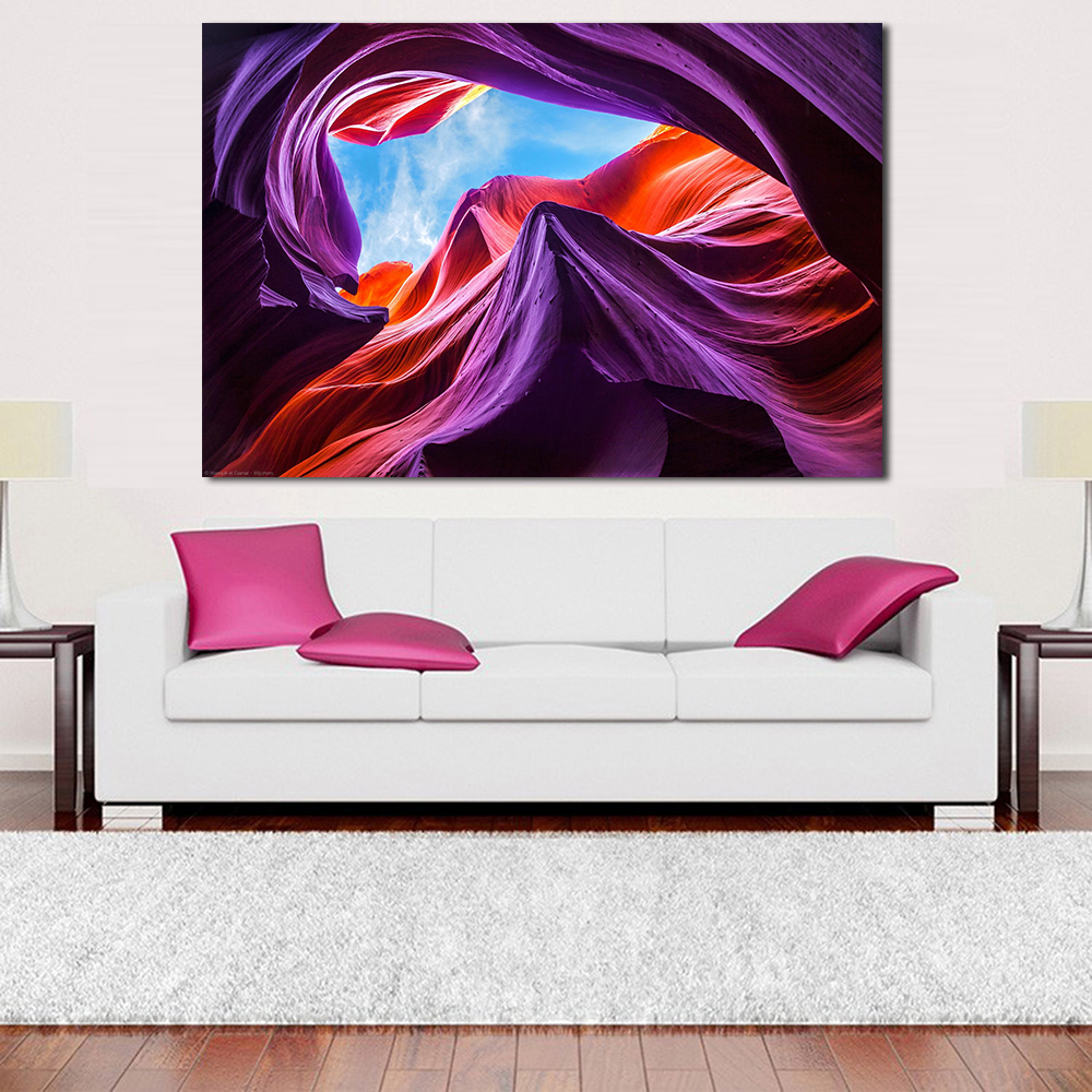JQHYART Antelope Canyon Violet Oil Painting Canvas Art Home Decor ...