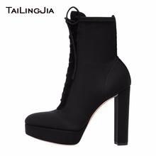 Fashion Women Black Lycra Velvet Female Ankle Boots With Platform Round Toe High Heel Block Heel Ladies Lace up Boots Large Size block heeled round toe ankle boots