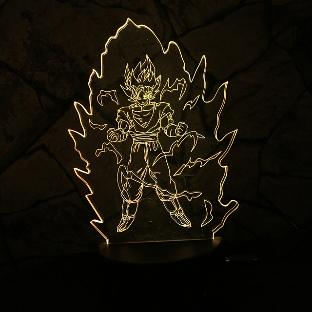 Dragon Ball Z Super Saiyan God Goku Action Figures 3D Table Lamp