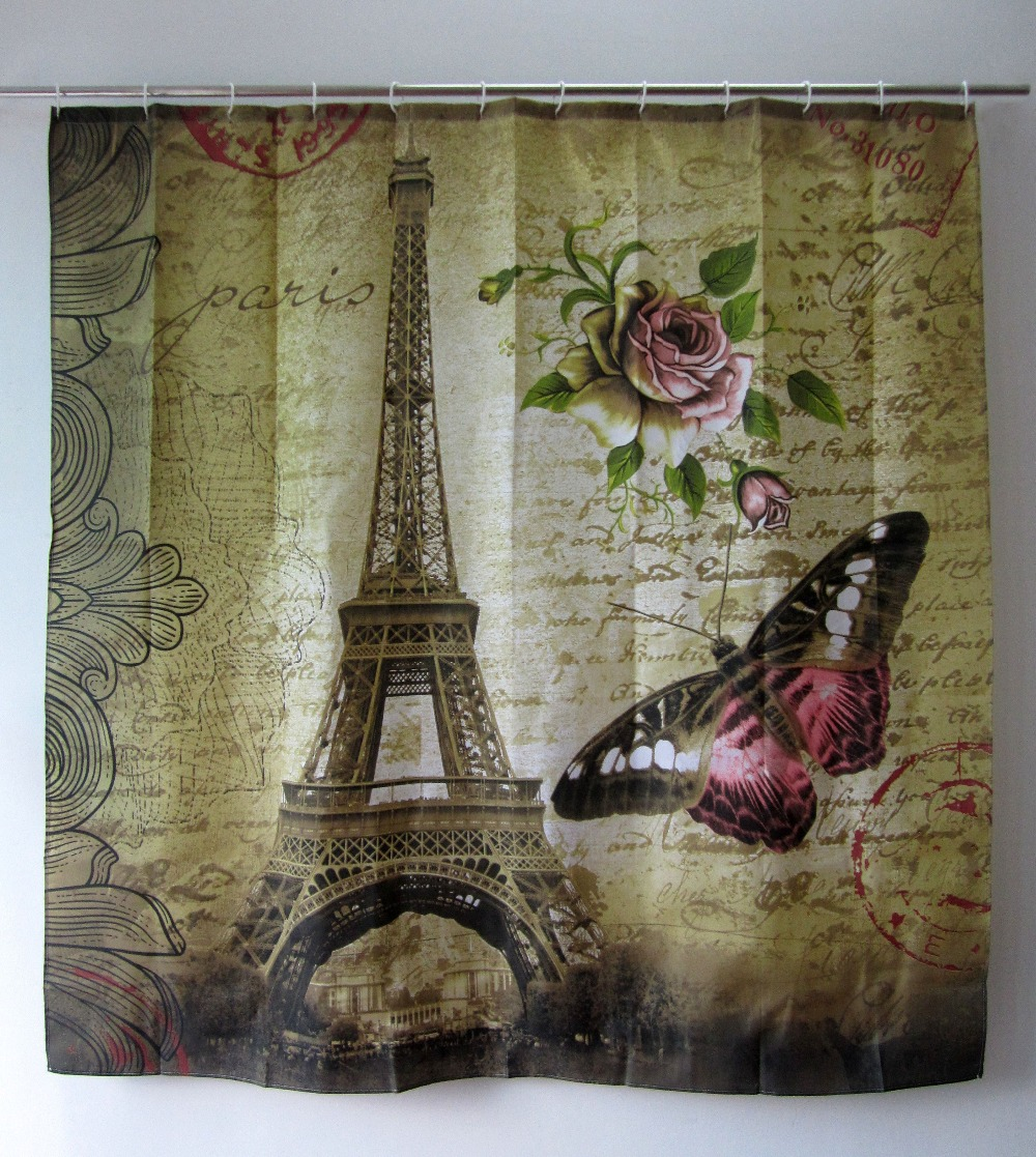 2016 Eiffel Tower Pattern Waterproof Polyester Fabric Shower Curtains Bath Curtains With 12 Hooks Cortina Ducha