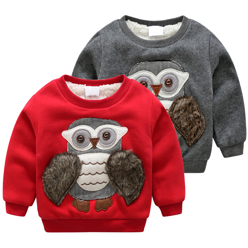 Dětské oblečení Zimní teplá dívka Oblečení Kuřecí mikina Cartoon Sova mikiny Děti Kabát Teplá Sametová Tričko Sněhové Oblečení