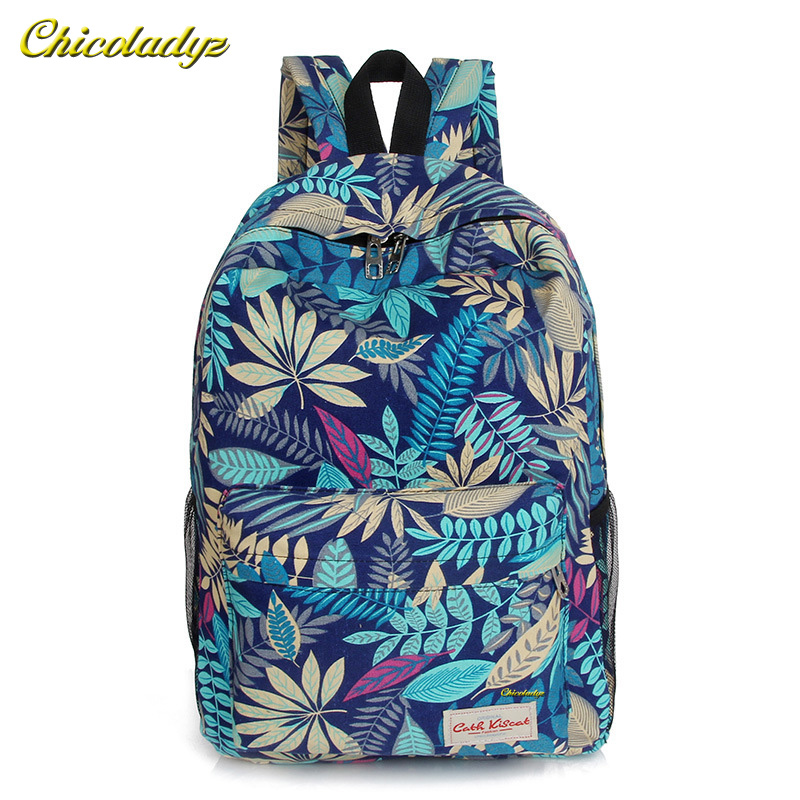 2016 Hot men and women printing leaves backpacks mochila rucksack fashion canvas bags retro casual school bags travel bags tangimp drawstring backpacks embroidery dear my universe cherry rocket printing canvas softback man women harajuku bags 2018