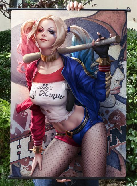 Batman:Clown Girl HD Game Scrolls Poster Bar Cafes Home Decoration Banners Hanging Art Waterproof Cloth Decorative 60X90 CM