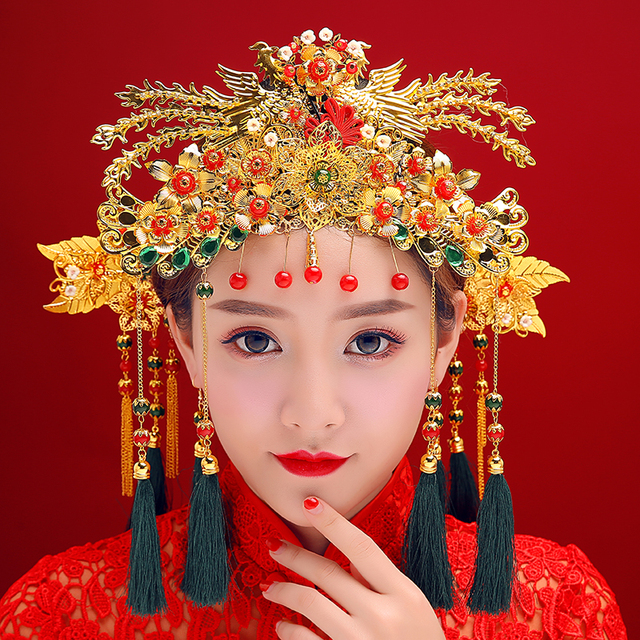 Classical Chinese Wedding Phoenix Queen Coronet Crown Brides Hair