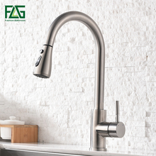 FLG Kitchen Mixer Brushed Pull Out Kitchen Faucet Deck Mount Kitchen Sink Faucet Mixer Cold Hot Water Torneira Cozinha Rotate стоимость